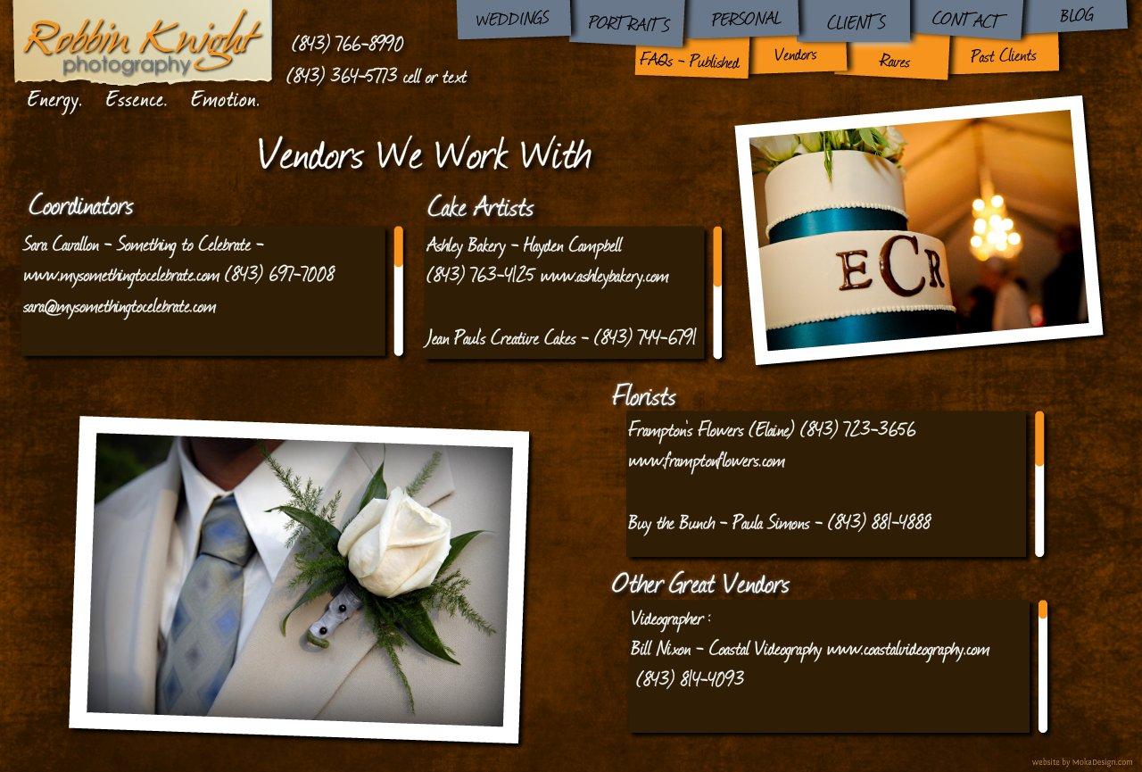 Vendors - Robbin Knight Photography  Wedding Vendors in Charleston, South Carolina