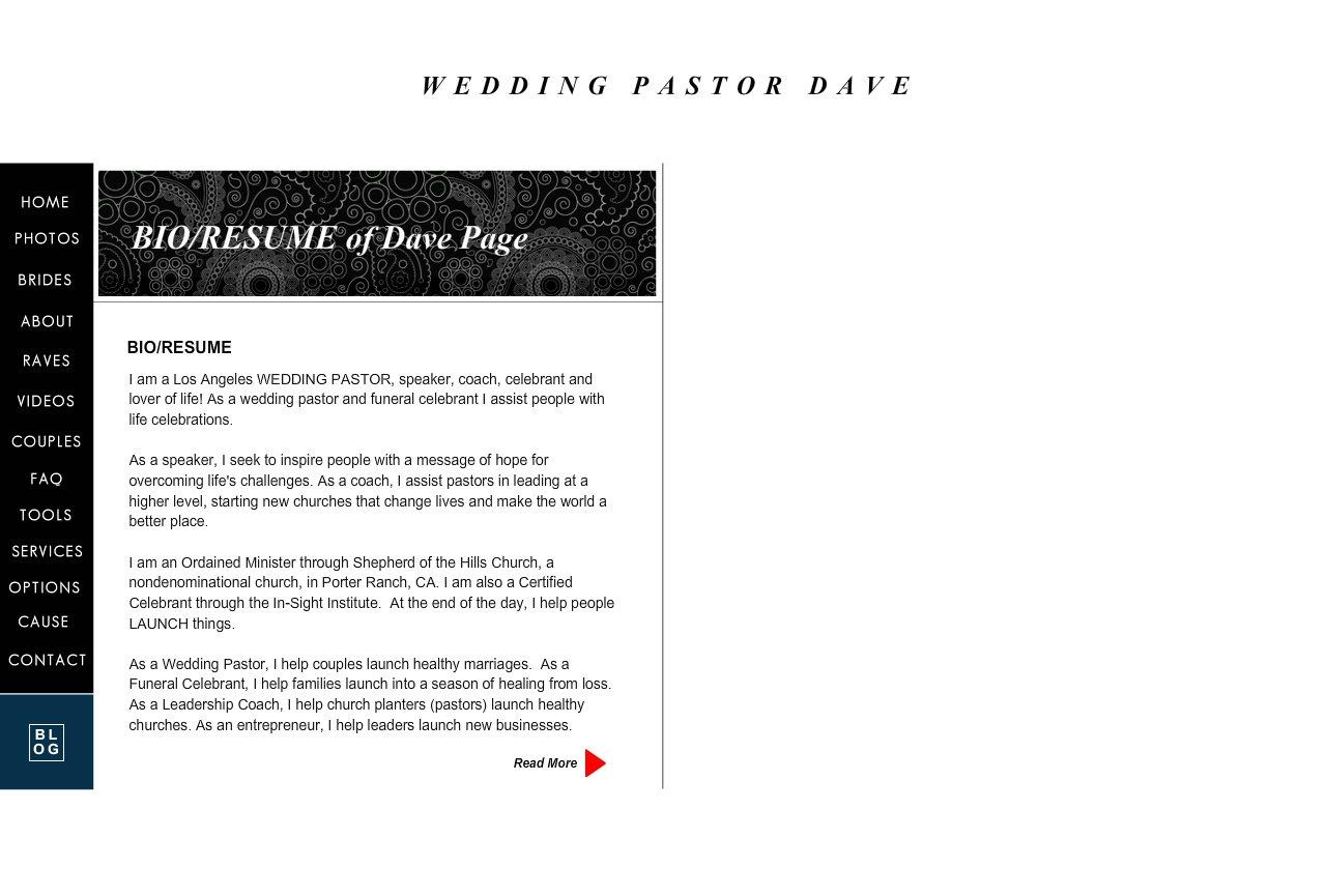 Wedding Pastor Dave Bio Resume 1