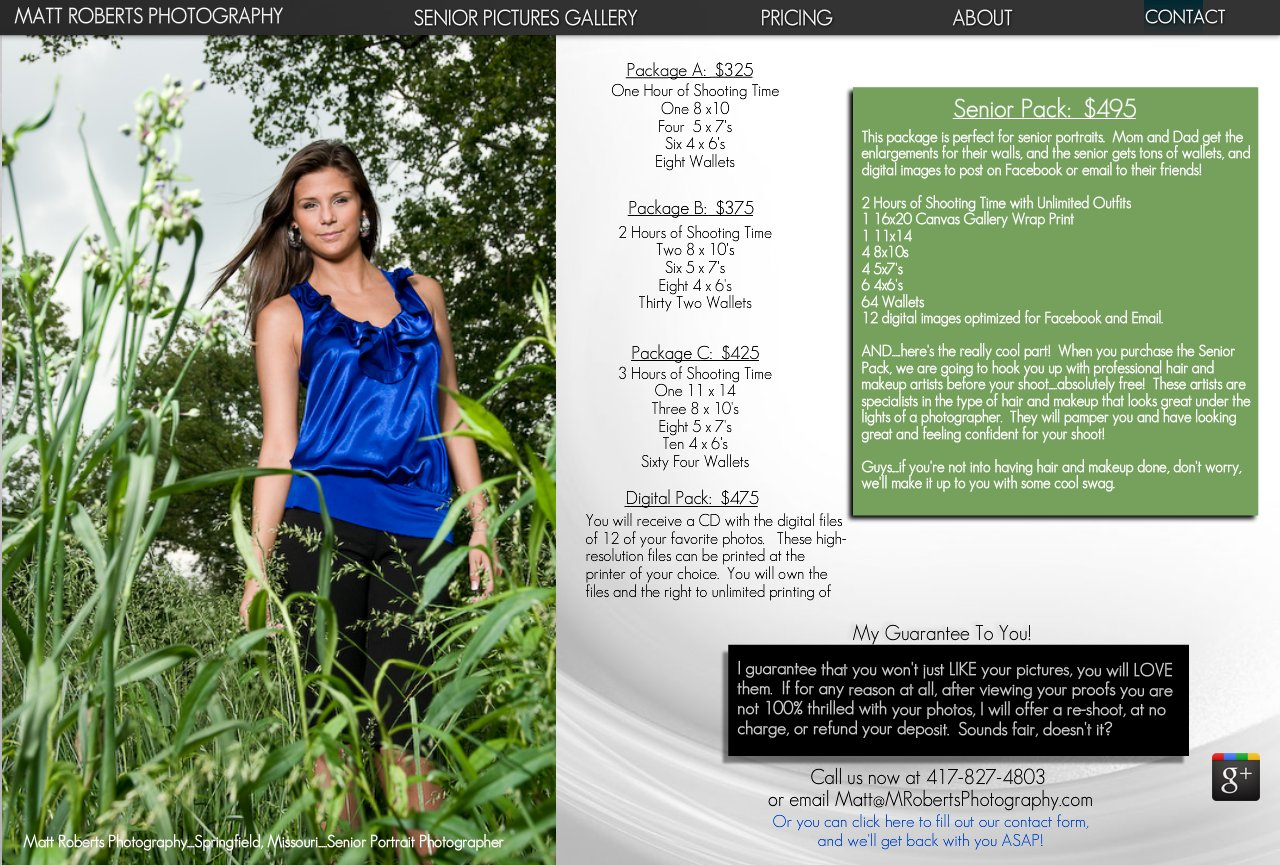 Senior Portrait Pricing
