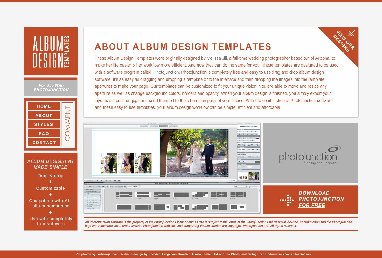 Album Design Templates for use with Photojunction