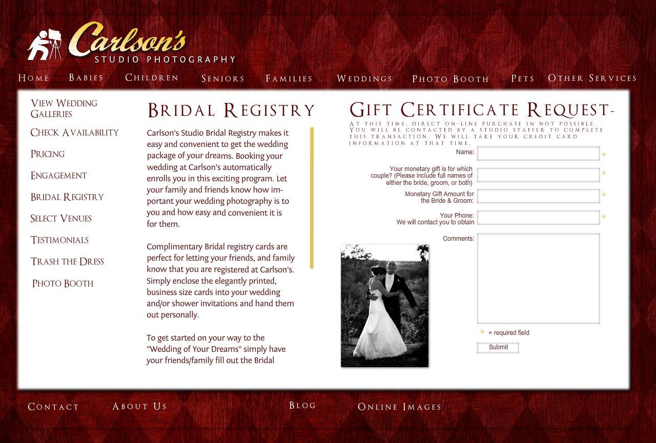 carlson s studio photography weddings bridal registry