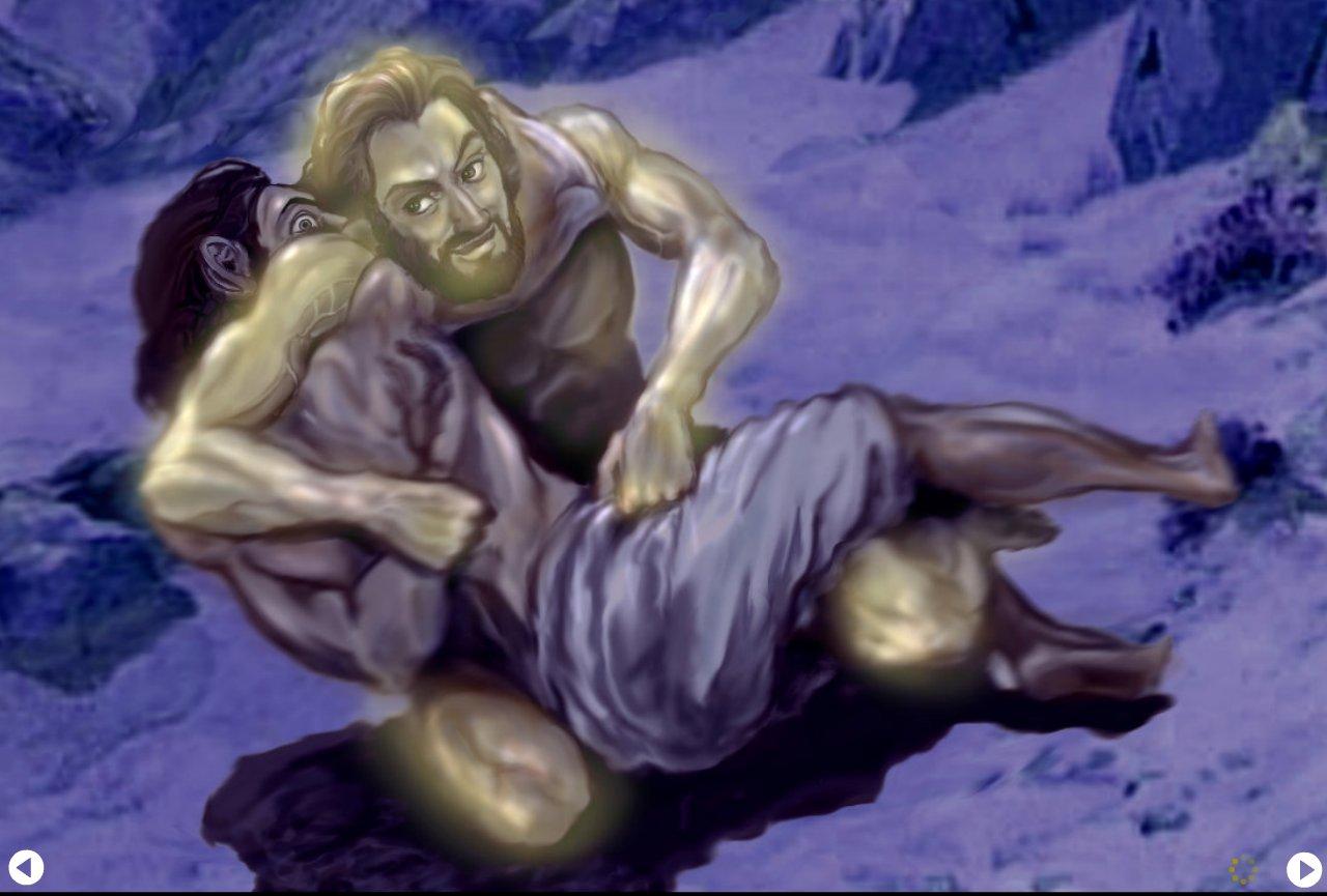 Jesus wrestles Jacob
