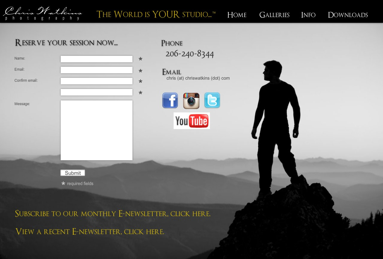 Contact page for Chris Watkins