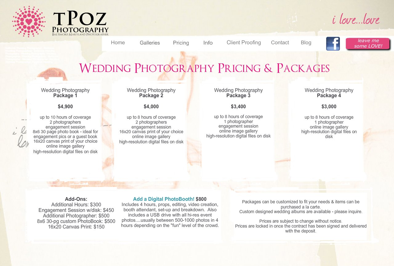 Wedding photography prices packages is fotografie for Best wedding photography packages