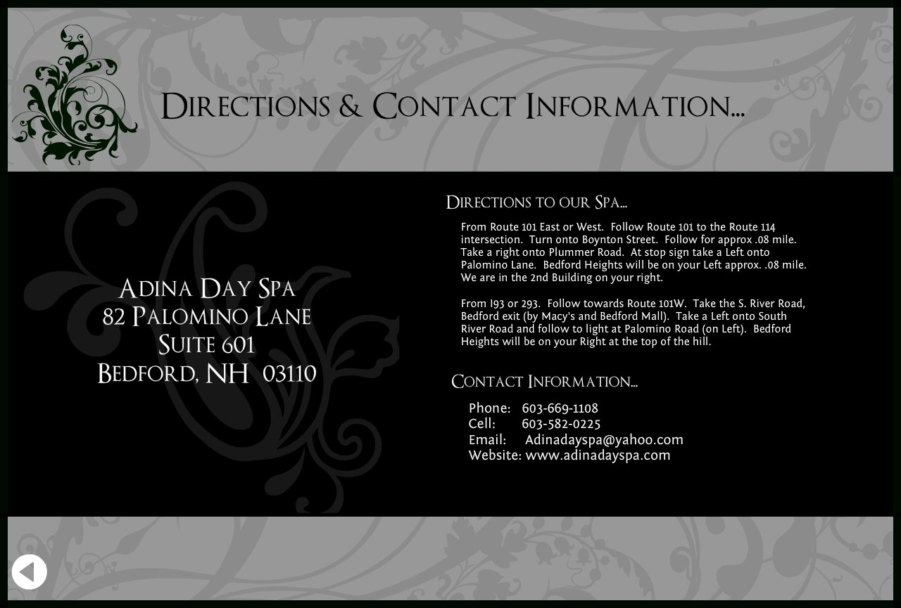 Adina day spa directions contact for 101 salon bedford nh