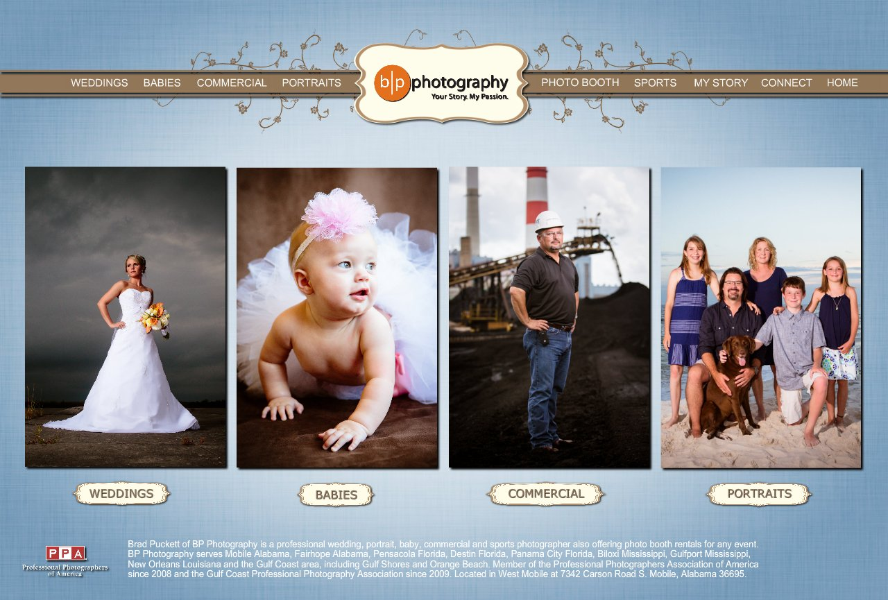 BP Photography: Weddings, Photo Booths, Babies, Commercial, Portraits and Sports photography.