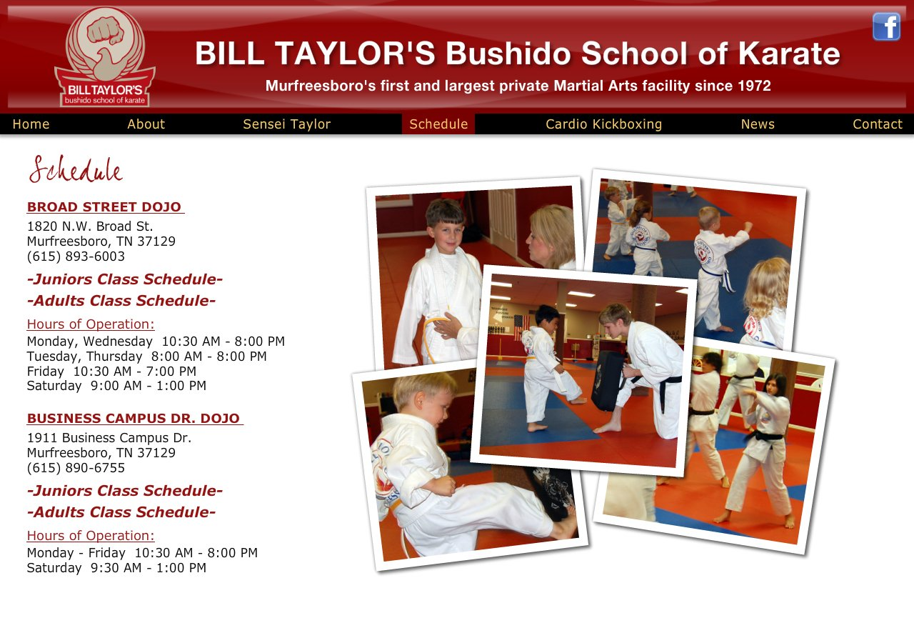 Schedule for Karate Classes Murfreesboro, TN