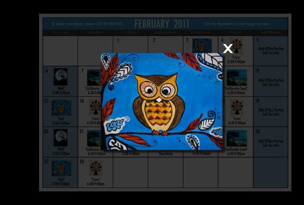 2011 calendar february. February 2011 Calendar-Owl