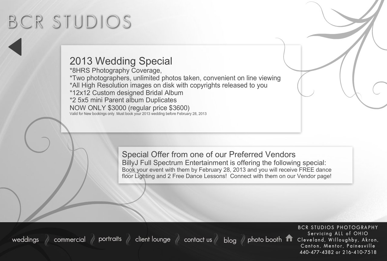 BCR Studios Wedding photography Specials
