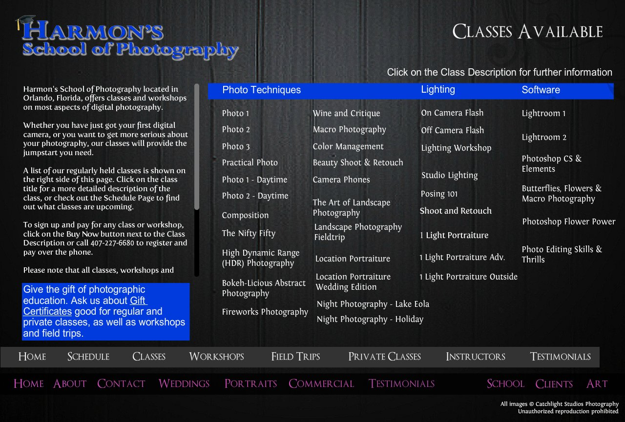 Classes available on digital phortography in Orlando, Florida