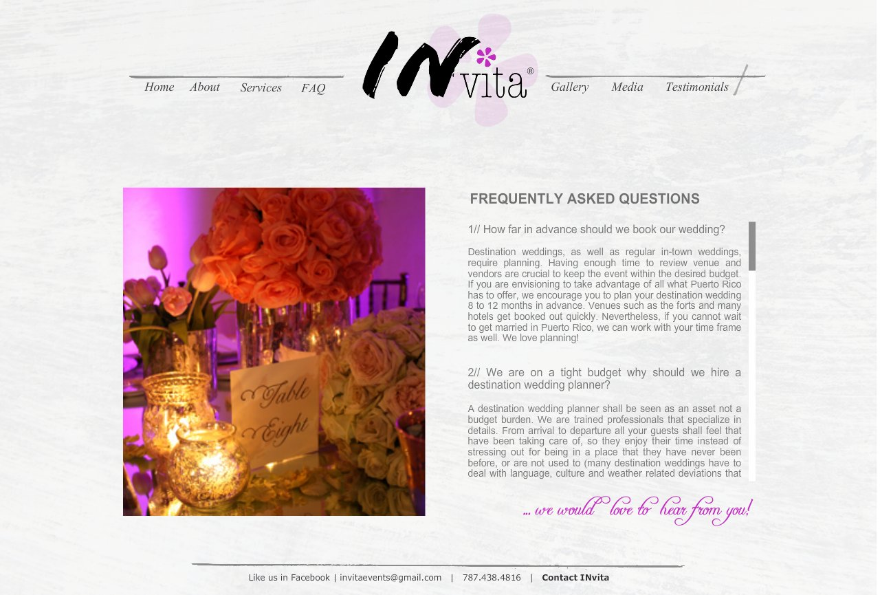 FAQ - Invita Weddng + Event Designers - Destionation Weddings Puerto Rico
