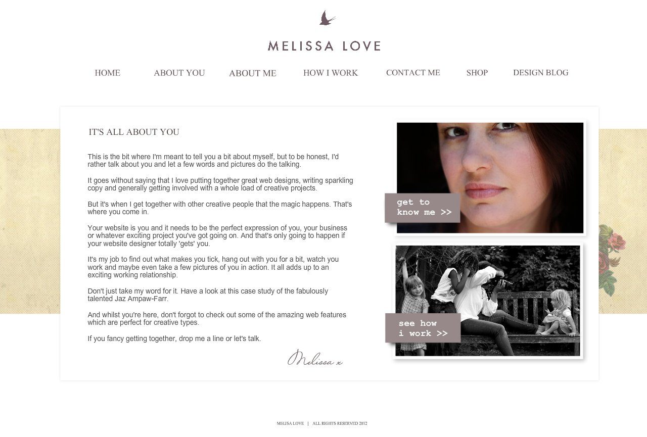 Melissa Love - UK Showit specialist website designer