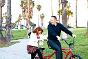 Santa Barbara Engagement Photogaphy with a tandem bicycle