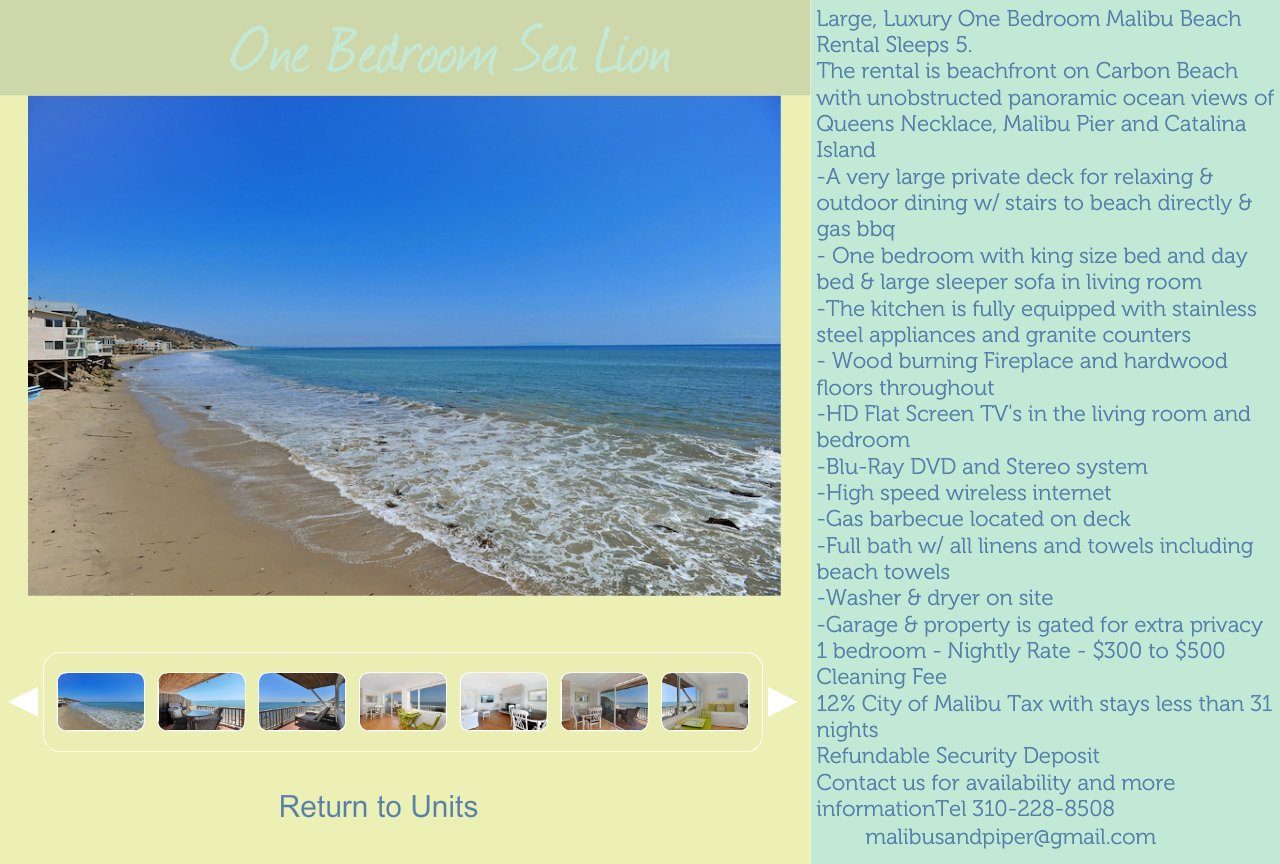 One Bedroom Beach Rental