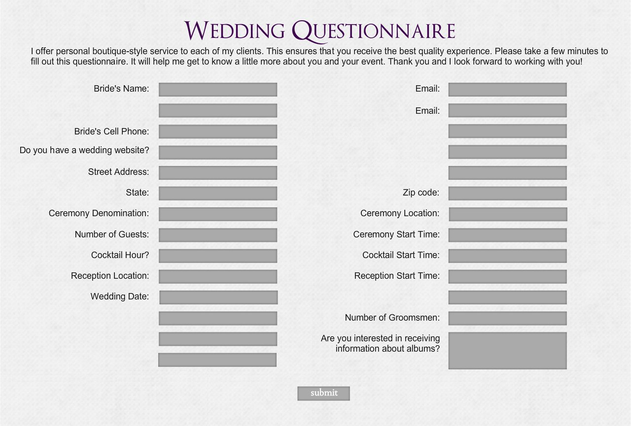 Wedding questionnaire wedding photography wedding decoration questionnaire choice image wedding dress wedding decoration questionnaire choice image wedding dress wedding decoration junglespirit Images