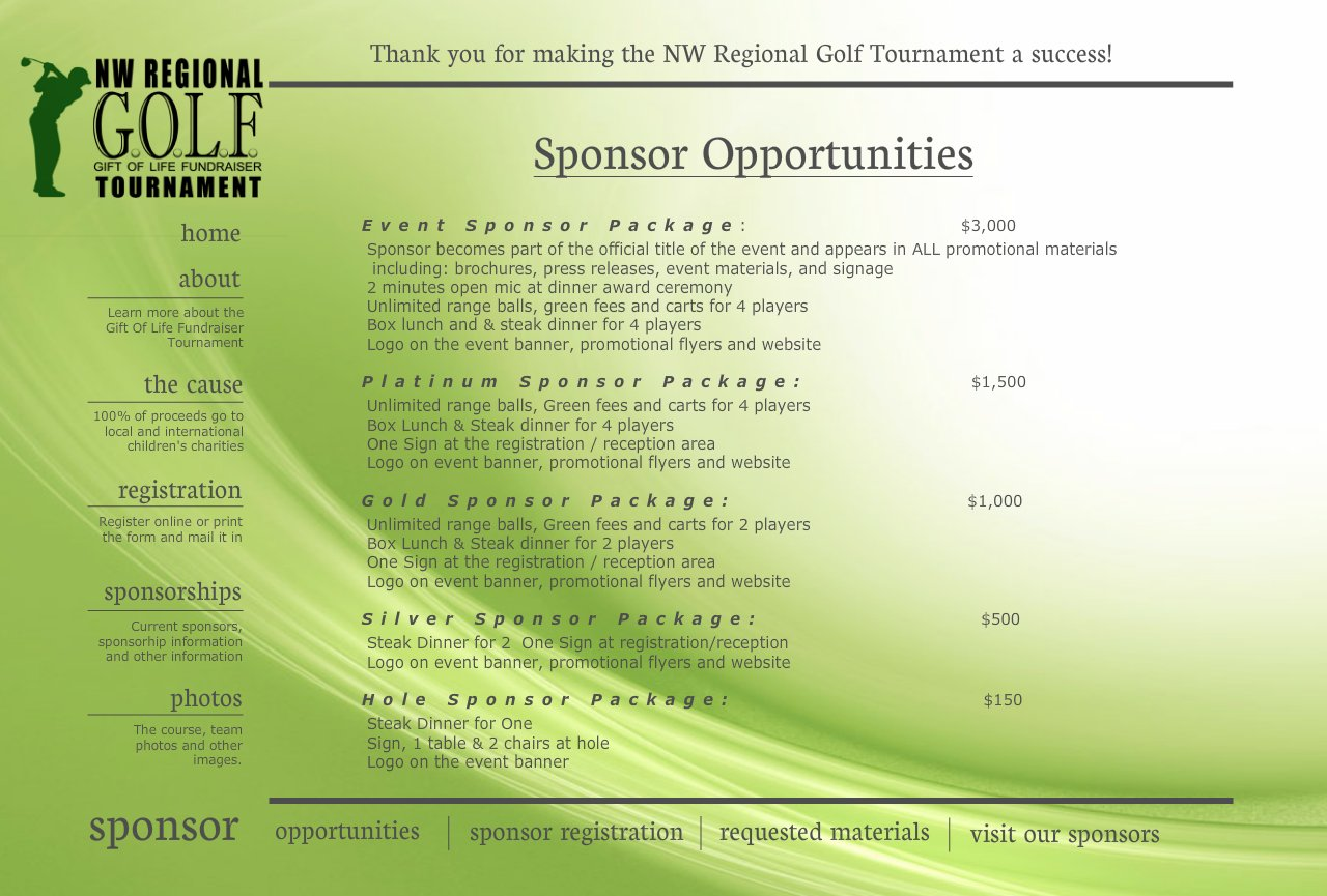 Golf Tournament Sponsorship Form Template