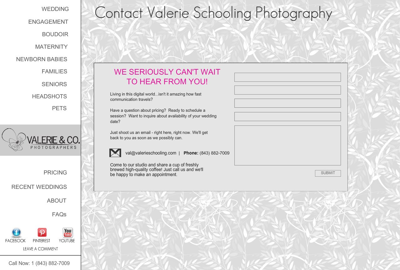 Contact Valerie Schooling Photography of Charleston