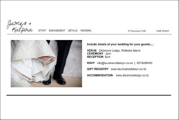 Sample Wedding Website The Lauren Delwyn Project Auckland Wedding