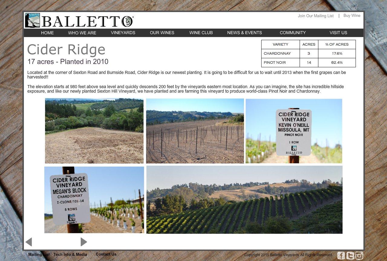 Balletto Vineyards Winery Cider Ridge Vineyard