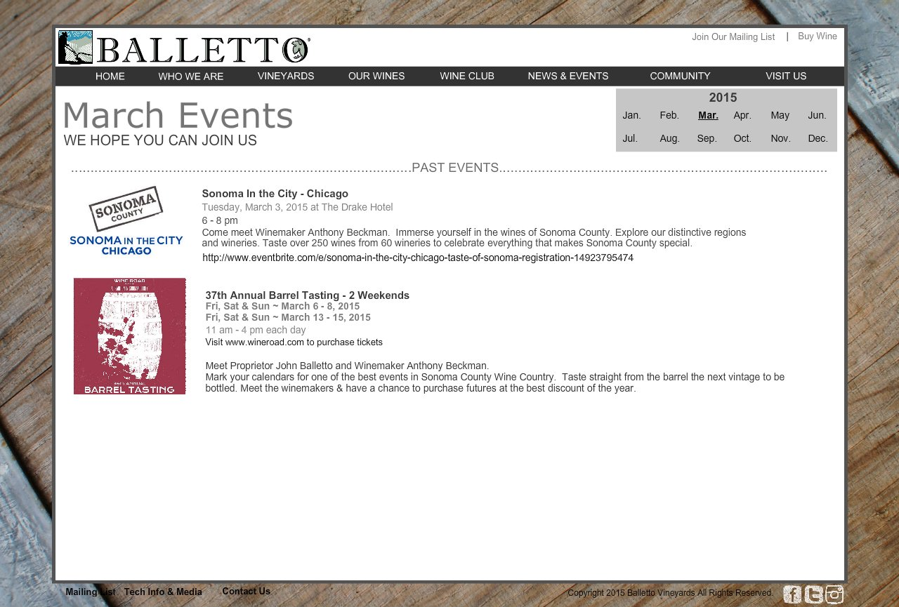 Event Calendar March