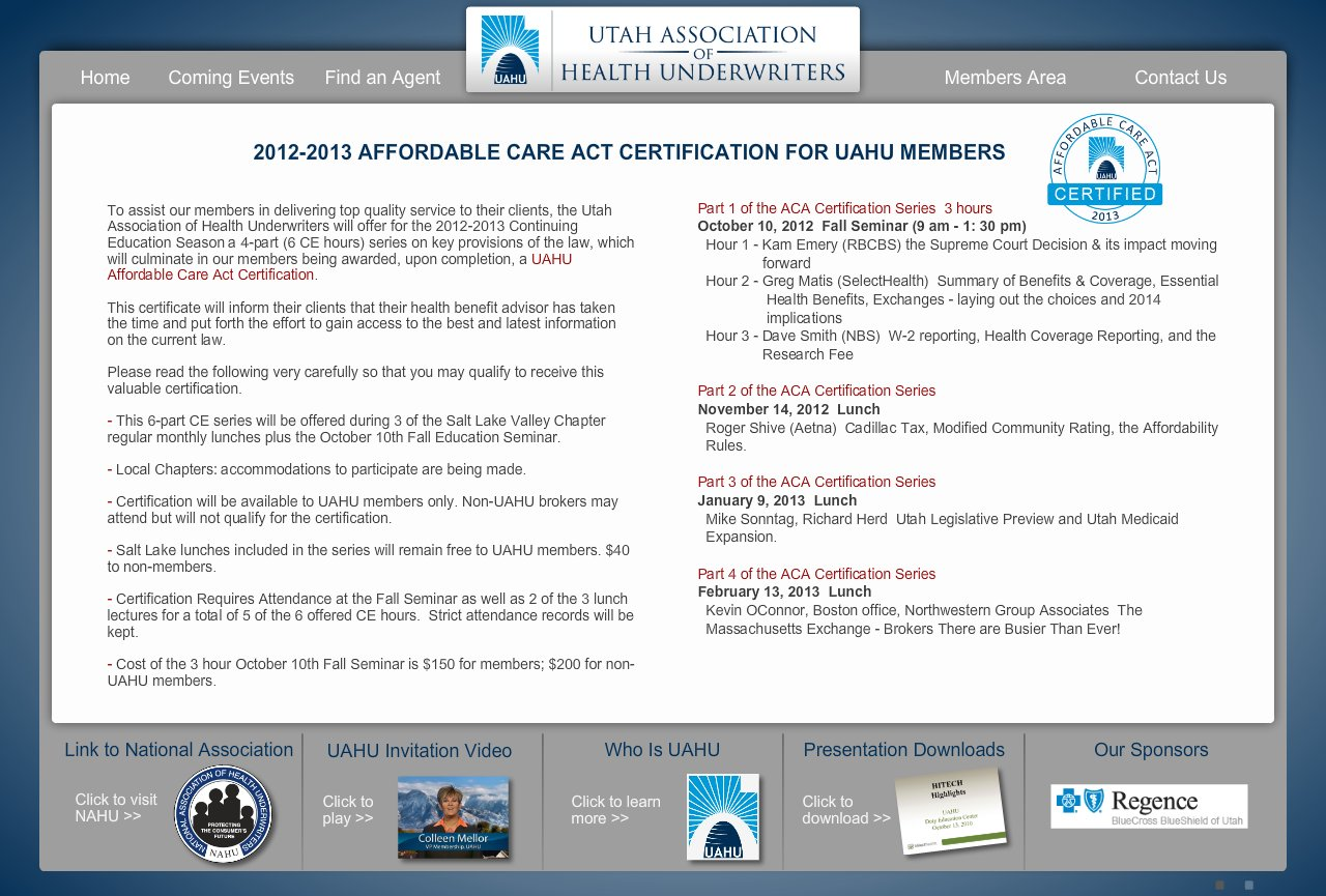 Utah association of health underwriters aca certification 1betcityfo Image collections