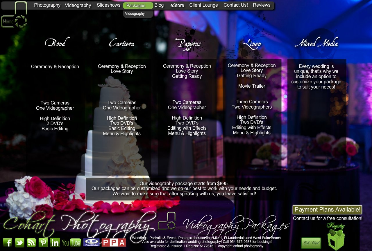 Cohart photography wedding videographer miami ft for Wedding videography packages