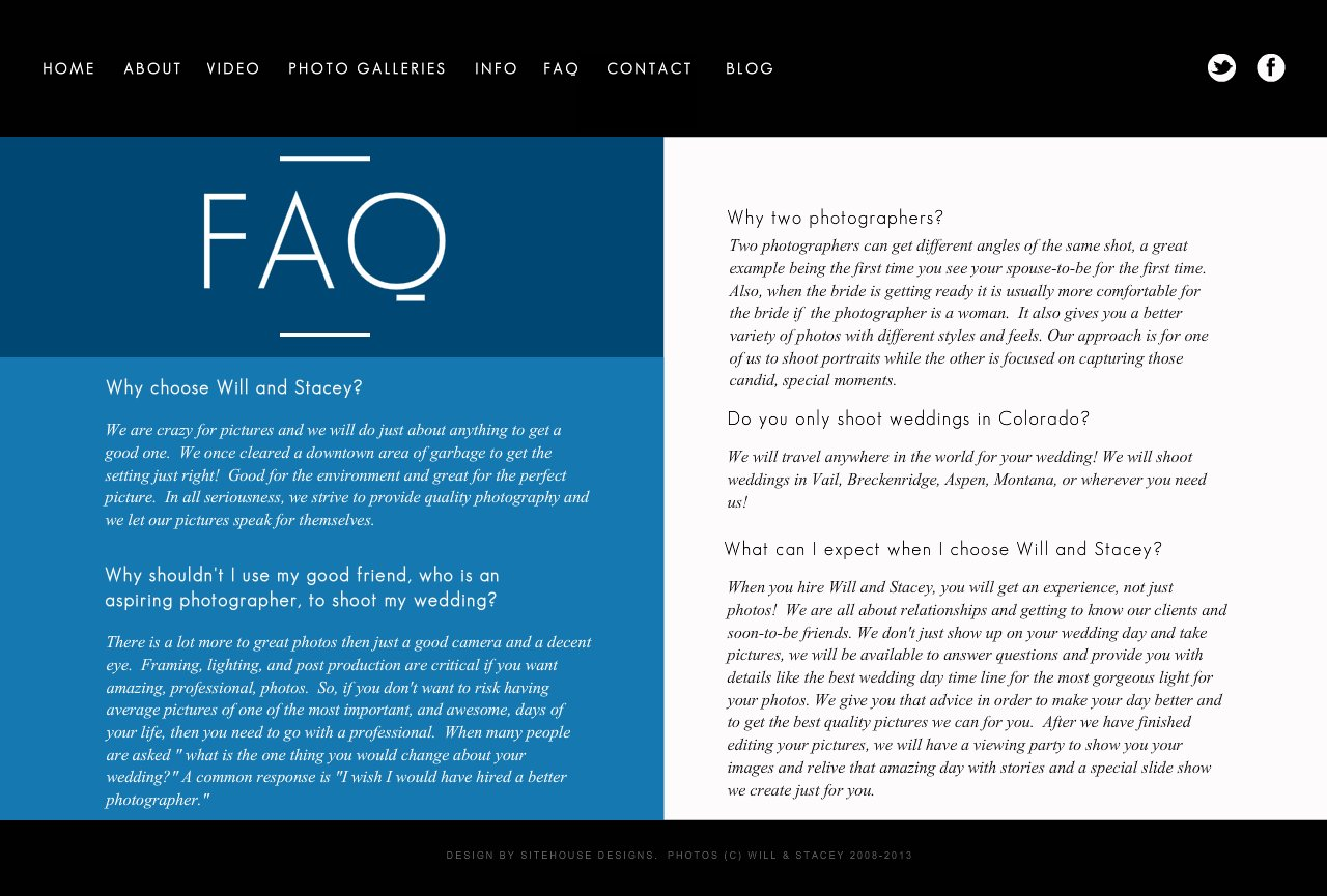 FAQ's about Will and Stacey Wedding Photography and why they are the best wedding photographer choice