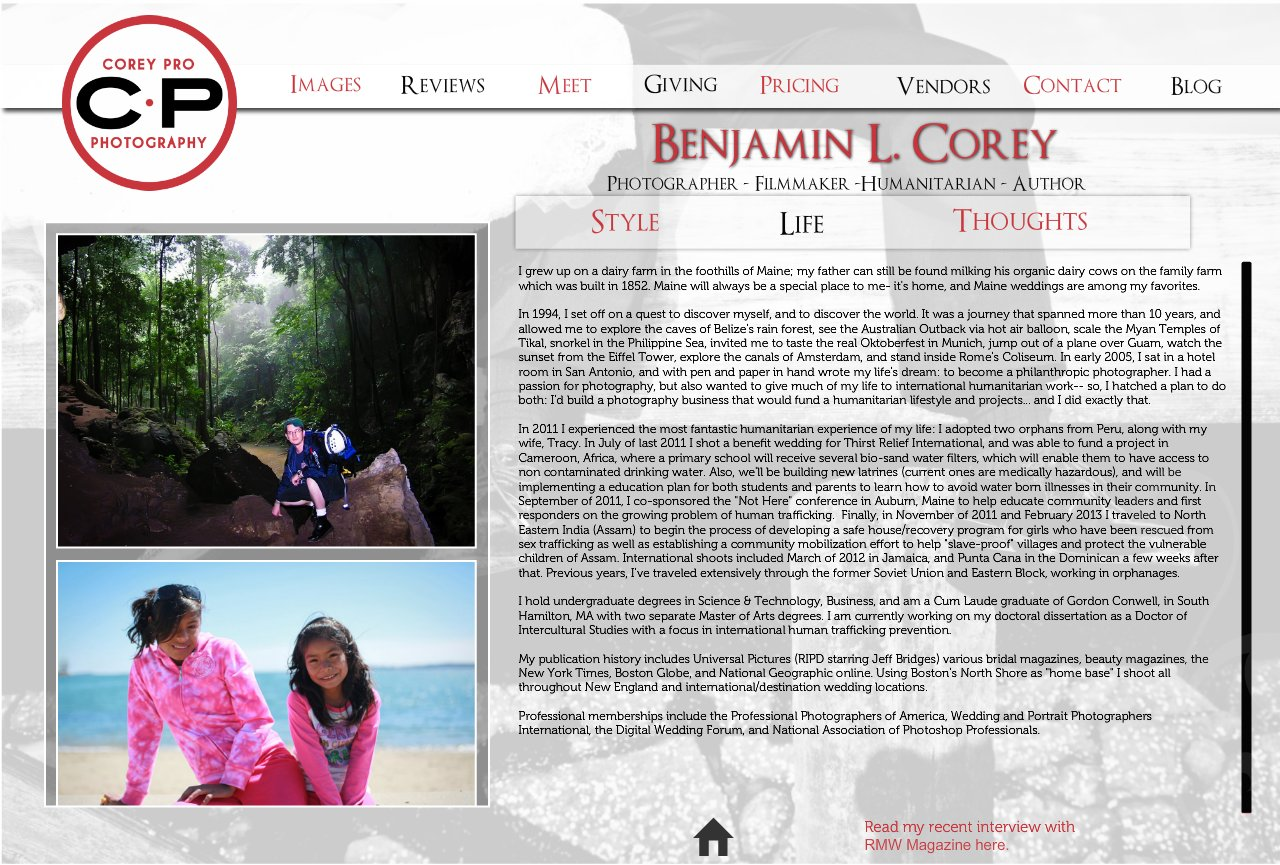 Biography of Benjamin L. Corey of Corey Pro Photography