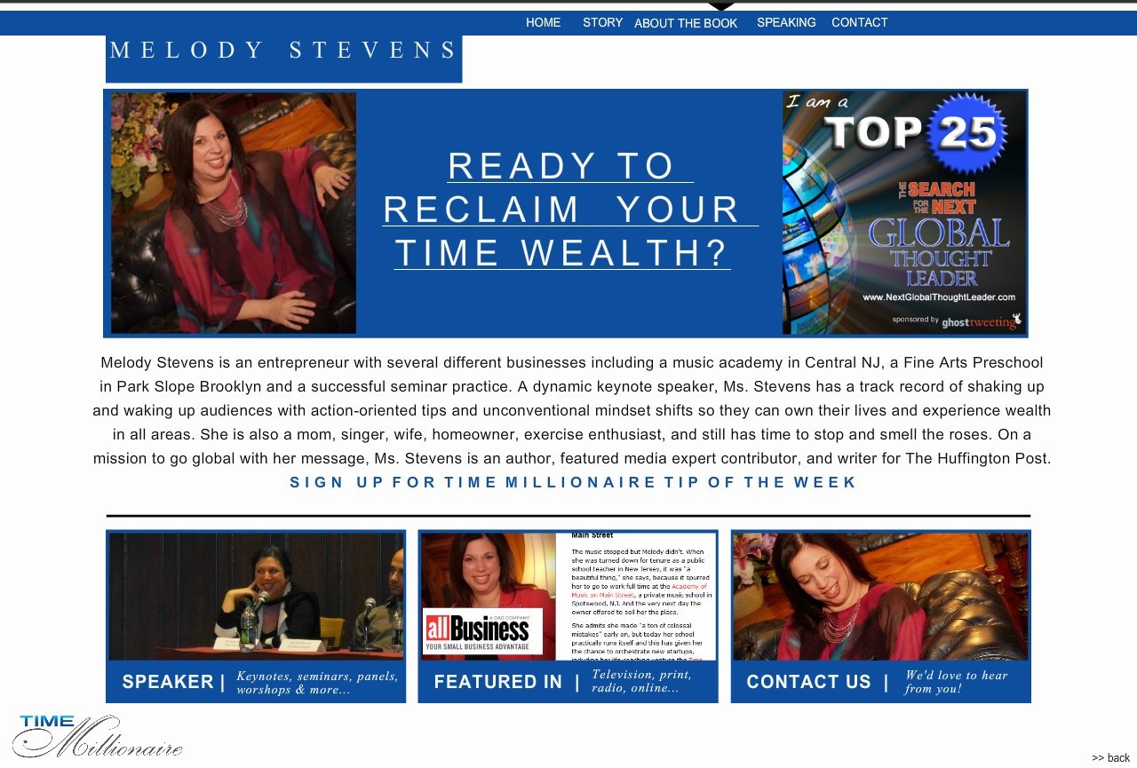 Home Page for Melody Stevens - Time Millionaire