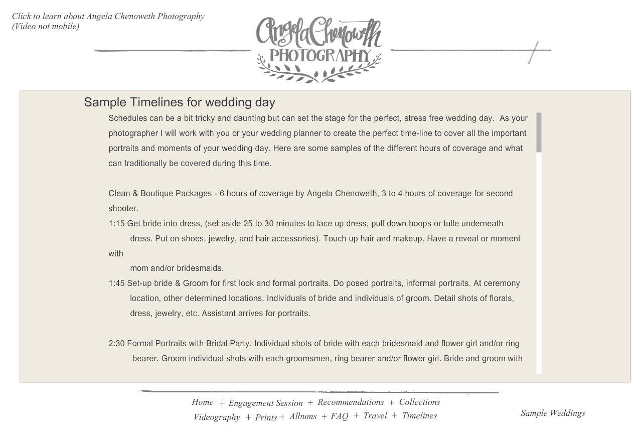 bridal suite angela chenoweth photography timelines