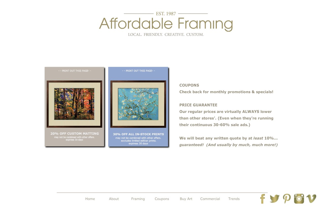 Affordable Framing :: Custom Picture Framing::Salem, Oregon :: Coupons
