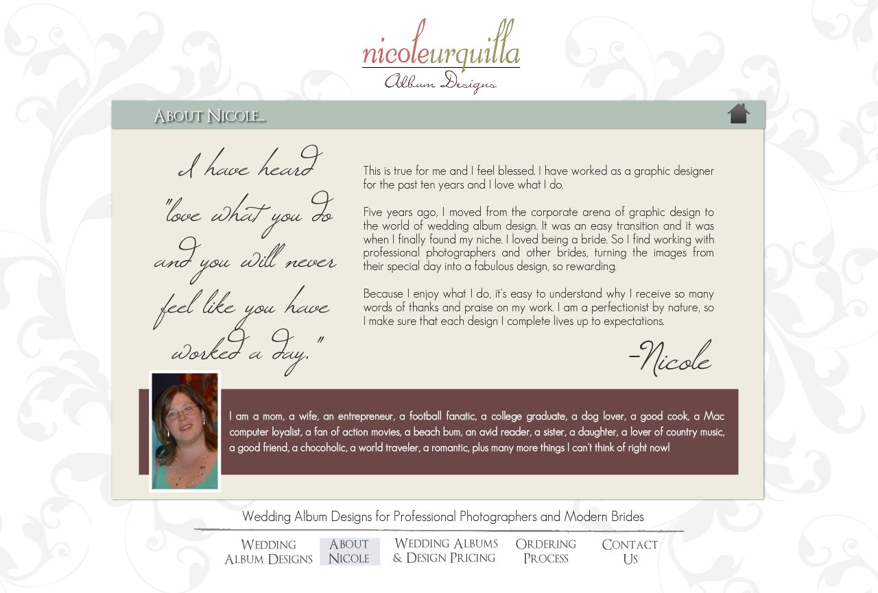 About Nicole - Wedding Album Design Services for Professional Photographers and Individual Couples