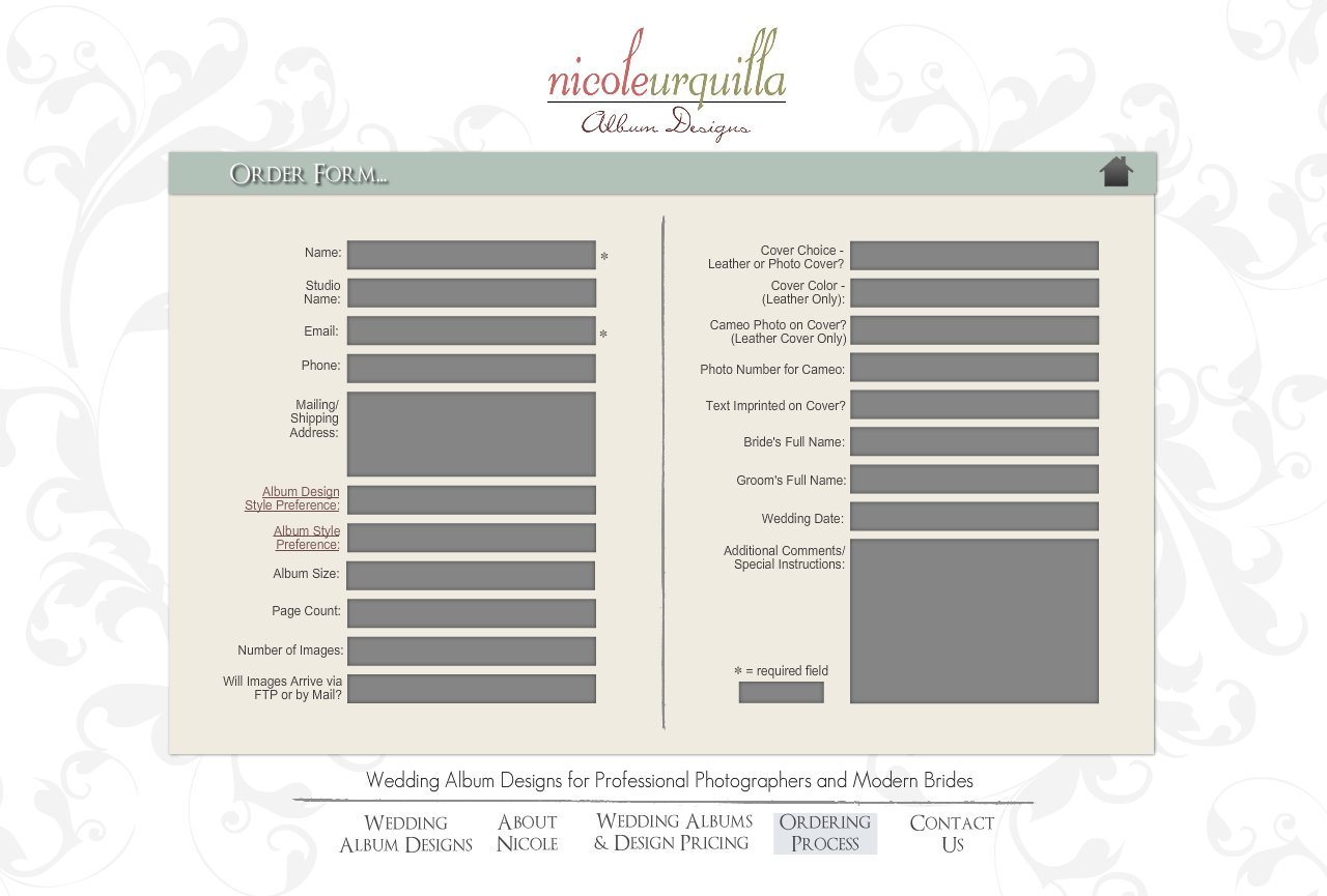 Order Form - Wedding Album Design Services for Professional Photographers and Individual Couples