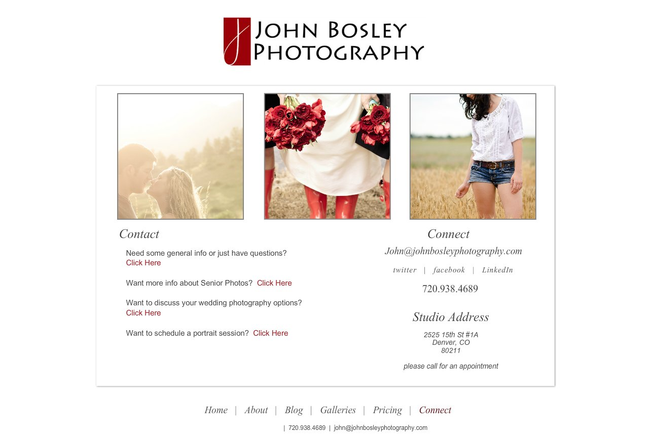 Denver Portrait, Senior and Wedding Photographer - John Bosley Photography : Connect