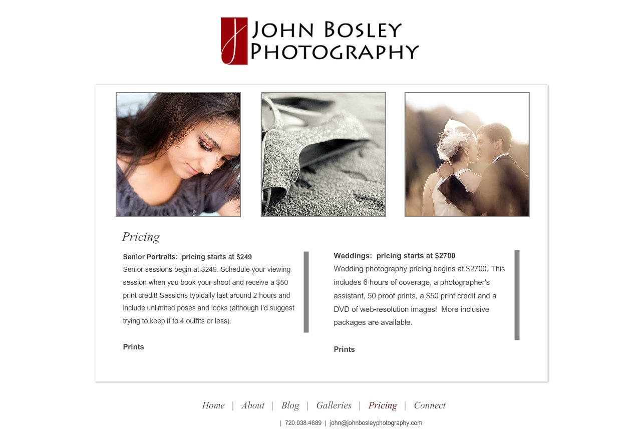 Denver Portrait, Senior and Wedding Photographer - John Bosley Photography : Pricing