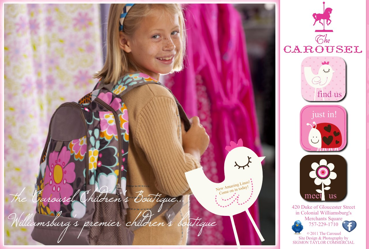 Home Page for Carousel Children's Boutique in Merchants Square, Williamsburg