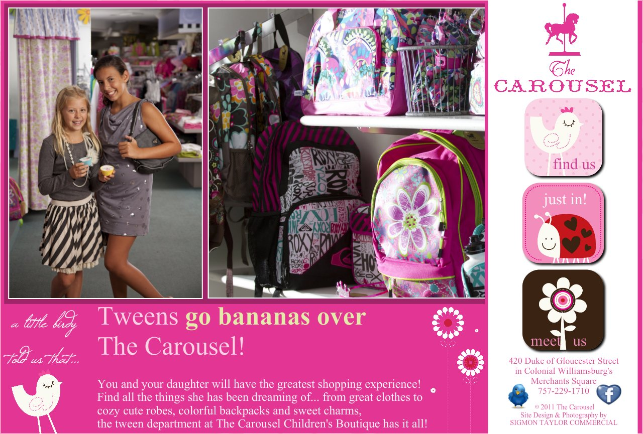 Tween Deparment at The Carousel Clothing Boutique in Merchants Square Williamsburg