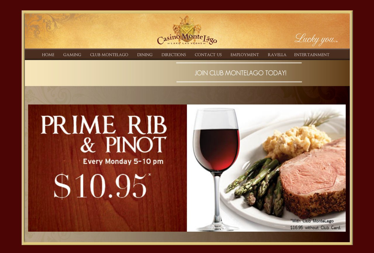 Club MonteLago-Prime Rib and Pinot