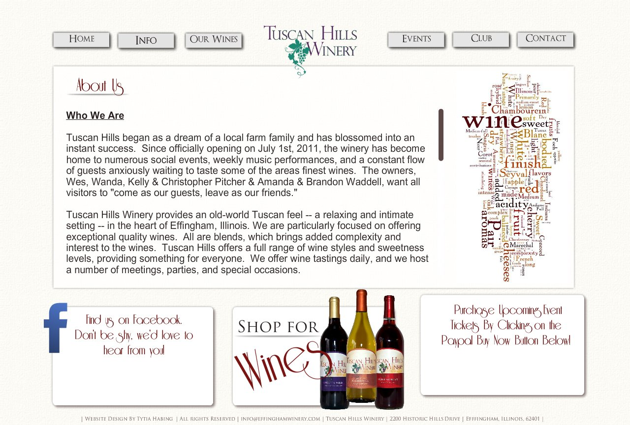 About Us, Tuscan Hills Winery, Effingham, Illinois