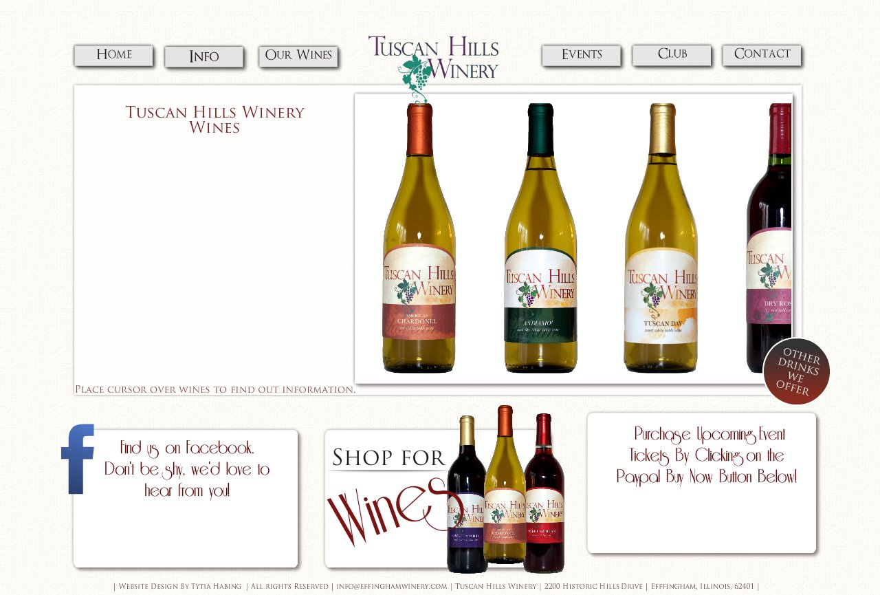 Our Wines, Tuscan Hills Winery, Effingham, Illinois