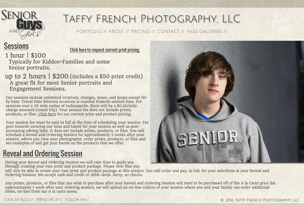 Taffy French Photography, LLC | Pricing-Seniors