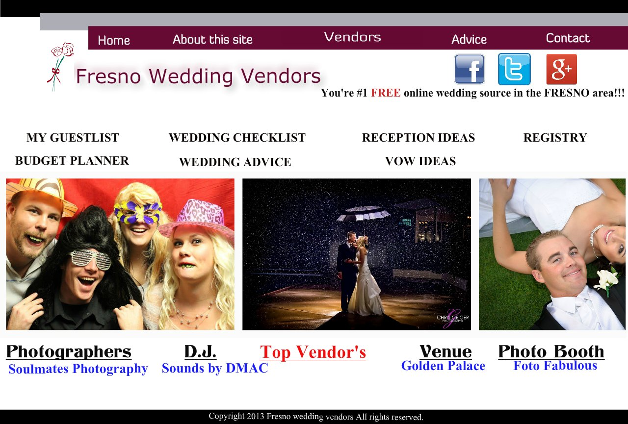 Fresno Vendors, photographers,Caterers,dj's,makeup,florists