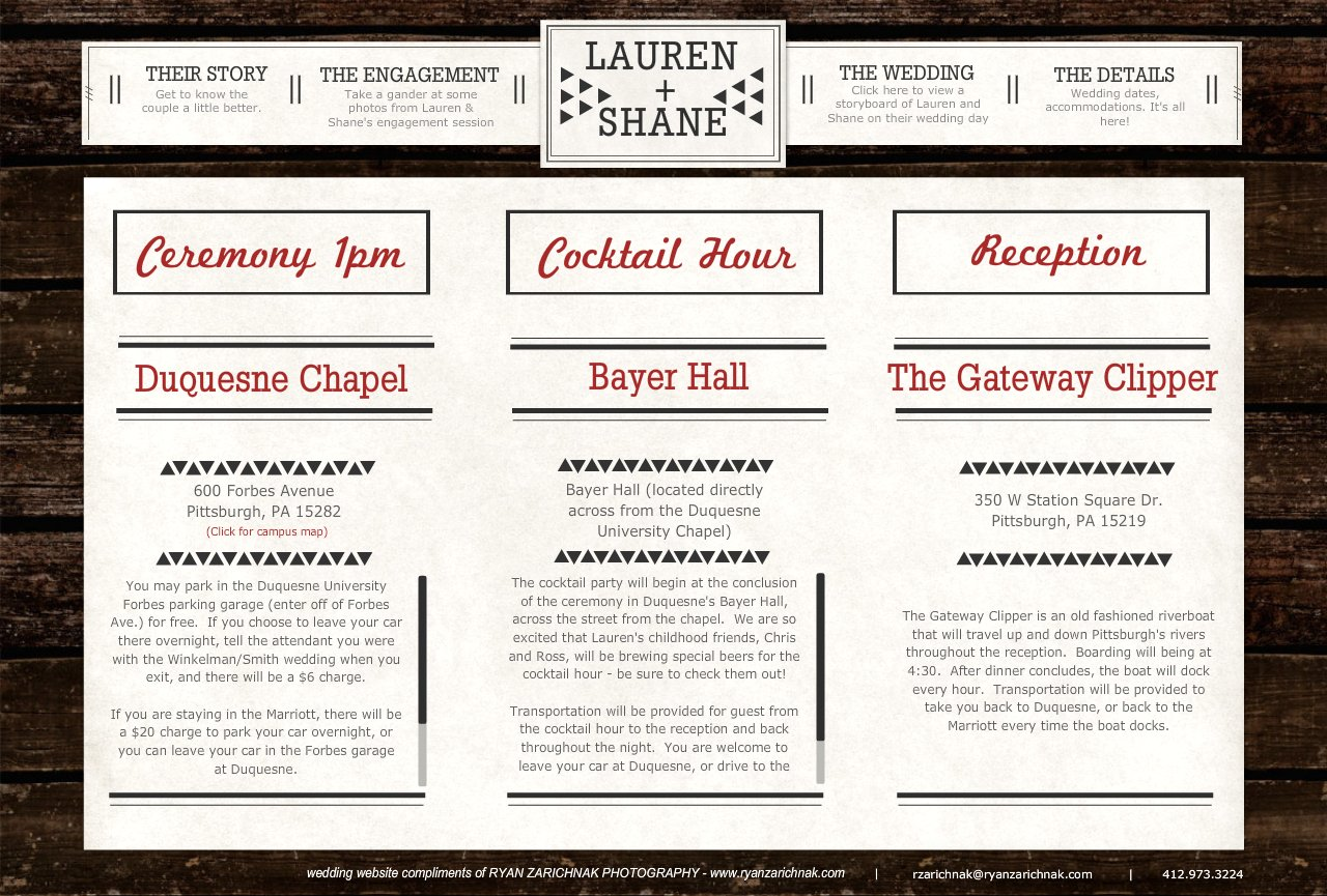 Lauren Shane S Personalized Wedding Website Wedding Details