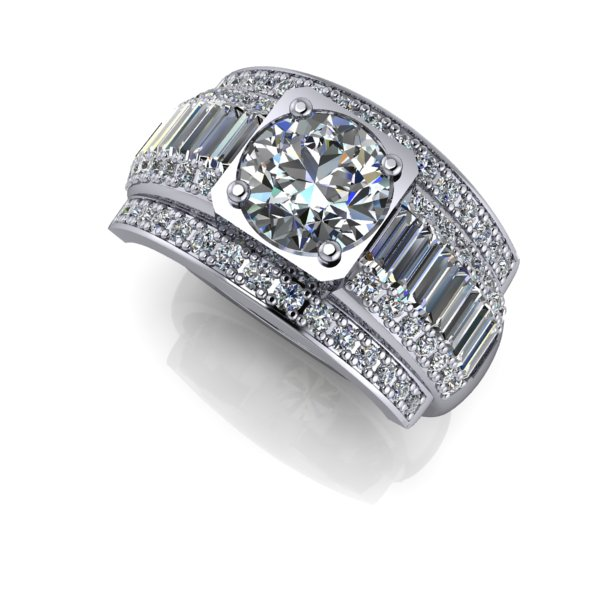 Custom Men\'s Ring with Round Center Diamond and Baguettes ...