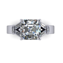 Asscher Engagement Ring with Baguettes and Marquise