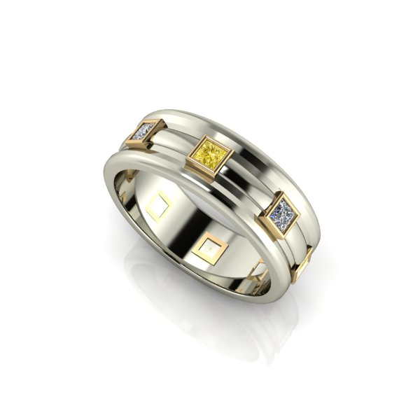 White Gold Grooved Band With White And Yellow Diamonds; Modern Masculine  Menu0027s Wedding ...