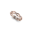 High Polised Rose Gold Woven Band with Diamonds