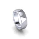 Modern Masculine Men's Wedding Band with Geomentric Triangles