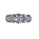 Contemporary Three Stone Engagement Ring with Diamond Pave