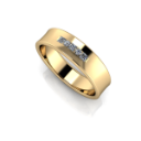 Custom Men's Wedding Ring in Yellow Gold with alternating Square and Round Diamonds